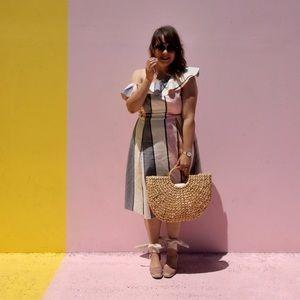 Dresses & Skirts - ASOS One Shoulder Ruffle Striped Midi Sundress